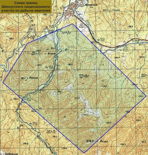 Схема - Шапсугский лицензионный участок - добыча Мергеля Абинский район